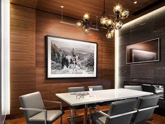 Lighting in the conference room inside of the Mason Morse office building where BG provided MEP and Lighting services
