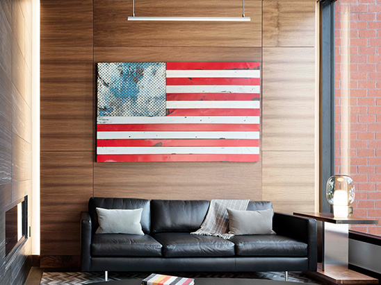 American flag above seating area inside of the Mason Morse office building where BG provided MEP and Lighting services