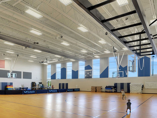 Gym inside of the Swigert Mcauliffe School where BG provided commissioning services