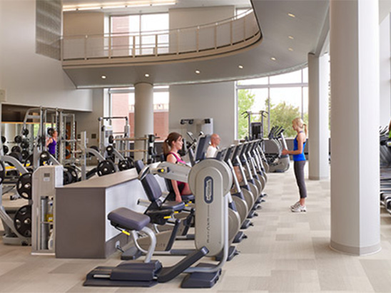 Interior Workout room at the UC Denver Health and Wellness Center where BG provided commissioning and LEED services