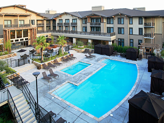 View of the pool at the Westin Verasa Napa where BG provided MEP and Lighting services