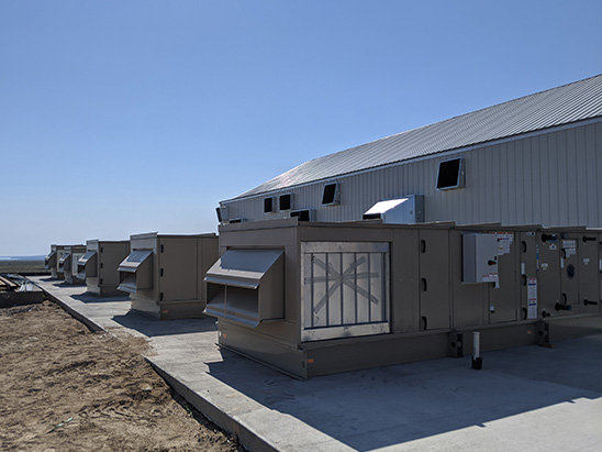 Indoor air handling units being installed at the Ascend Cannabis Grow Facility